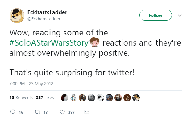 positive reactions to solo: A Star Wars Story on Twitter
