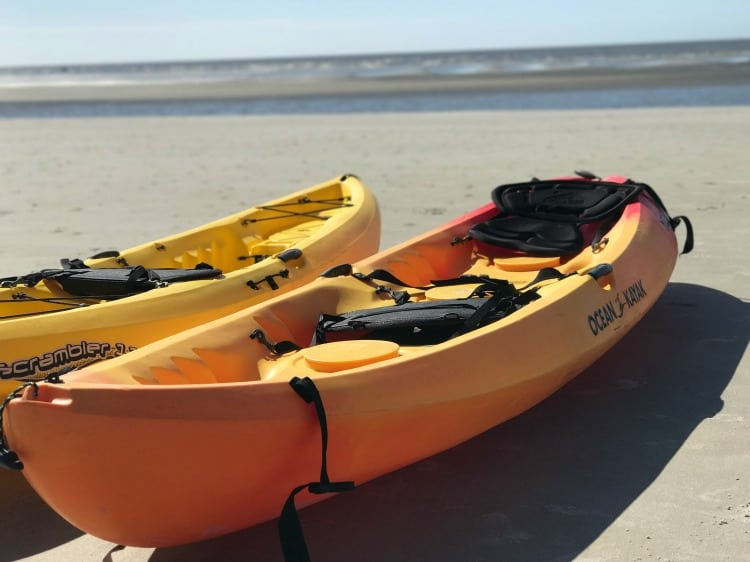 Rent sea kayaks on the beach at King and Prince Resort St. Simons Island Georgia.