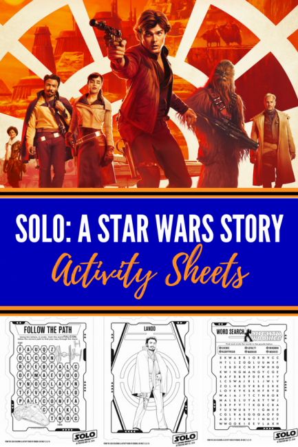 Get ready for Solo with these Star Wars activity sheets! #solo #hansolo #activitysheets #printables #starwarsactivities #starwars