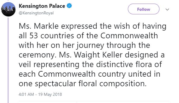 Meghan Markel's Veil Tweet