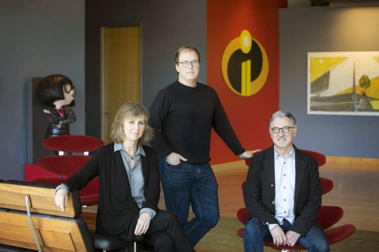 Incredibles 2 Producer Nicole Grindle, Director Brad Bird and Producer John Walker as seen on April 3, 2018 at Pixar Animation Studios in Emeryville, Calif.