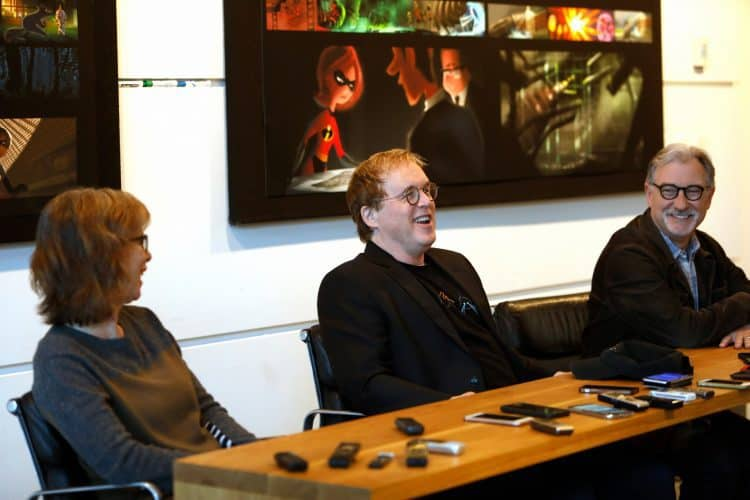 Producer Nicole Grindle, Director Brad Bird and Producer John Walker Pixar Studios Incredibles 2 Press Day
