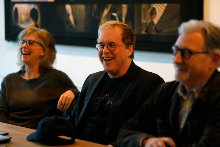 Producer Nicole Grindle, Director Brad Bird and Producer John Walker during a press conference at Incredibles 2 Long Lead Press day, as seen on April 4, 2018 at Pixar Animation Studios in Emeryville, Calif. (Photo by Deborah Coleman / Pixar)