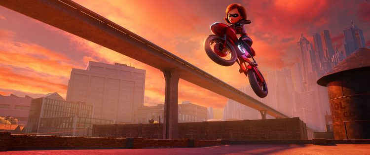 "Helen aka Elastigirl is called on to help bring Supers back in ""Incredibles 2,"" she employs a brand-new, specially designed, state-of-the-art Elasticycle. Written and directed by Brad Bird and featuring the voice of Holly Hunter as Helen, Disney•Pixar's ""Incredibles 2"""