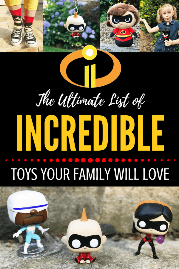 Check out the Incredibles toys ultimate list - your family will love the merchandise and Funko Pop collectibles from the Incredibles 2 movie! #incredibles2 #toys #birthdaypresents #incredibles #disney #pixar #giftideasforkids #giftideas #gifts #christmas #birthdays #birthdaygifts #christmasgifts