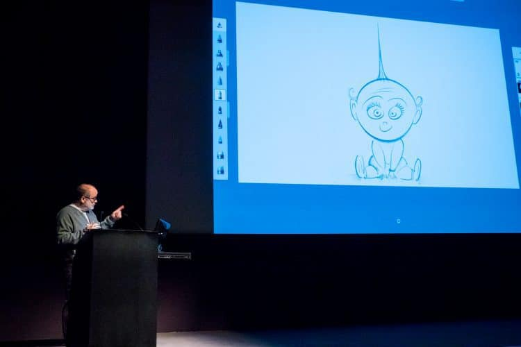 Tony Fucile (Supervising Animator) draws Jack-Jack at Pixar press event
