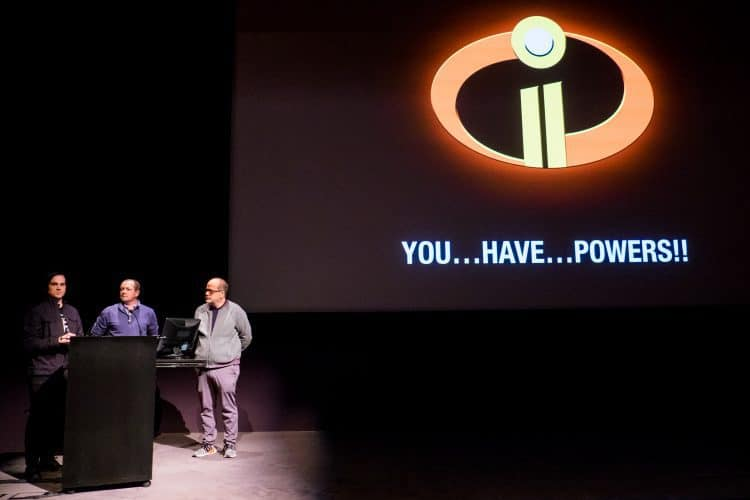 Jason Johnston (Effects Artist), Bill Watral (Effects Supervisor) and Tony Fucile (Supervising Animator) at Pixar for Incredibles 2 press event