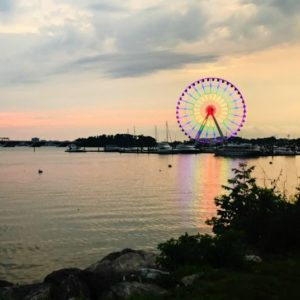 Gaylord National Harbor Wheel at sunset in Maryland