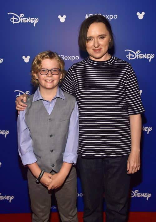 Incredbiles 2 siblings Sarah Vowell and Huck Milner at D23 Expo in 2017