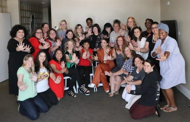 Sophia Bush is Voyd in the Incredibles 2. Group photo doing Voyd's signature move in Incredibles 2