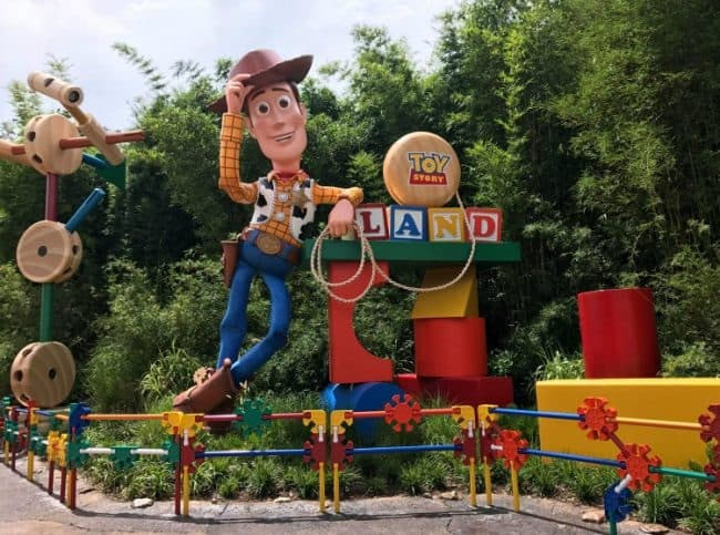 Toy Story Land at Walt Disney World Entrance Sign with Woody