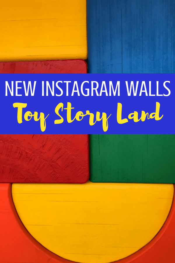 New Disney Instagram walls: check out the Toy Story Land Instagram walls at Disney World! #Instagramwalls #insgram #disneyworld #disneytravel #popsiclestickwall #blockwall #checkerboardwall #andywall #disneywalls #WallsofDisney