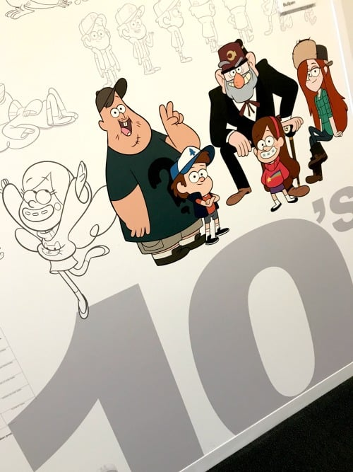 Gravity Falls on the Timeline Wall at Disney Channels Studios Building