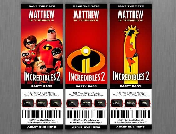 incredibles invite from etsy