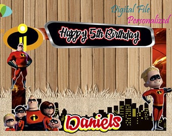 incredibles photo booth back drop for Incredibles party ideas