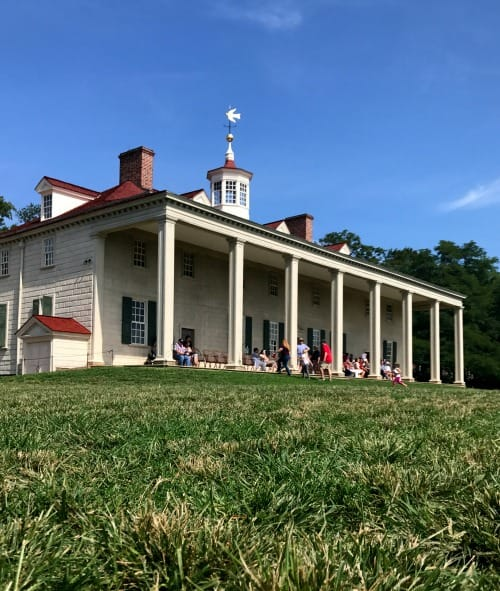 Back porch of Mount Vernon, home of George Washington, overlooks the Potomac river.