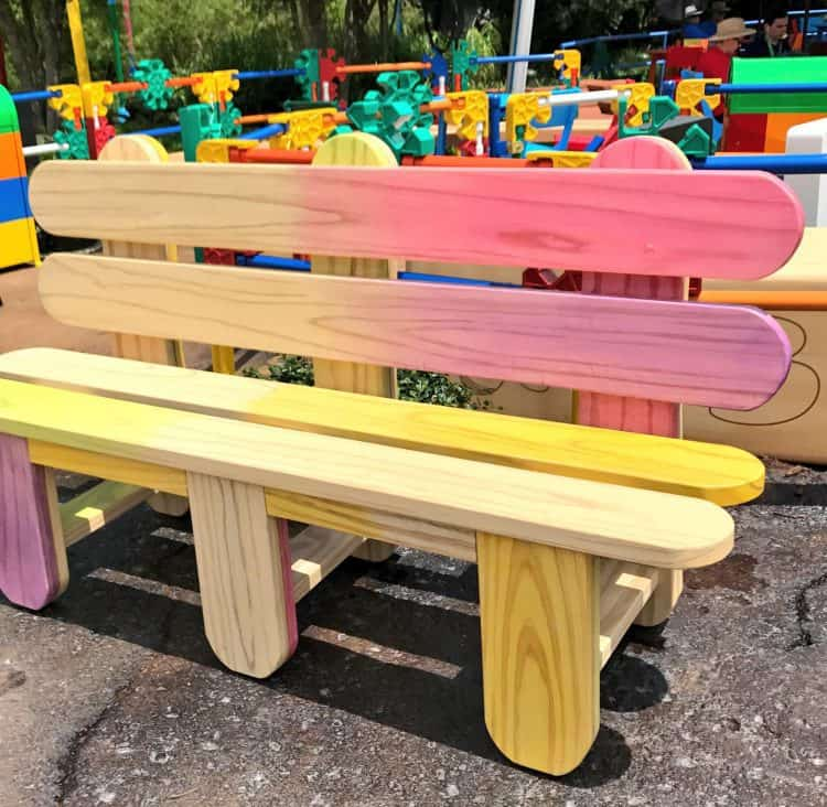 Popsicle stick bench at Toy Story Land Disney World