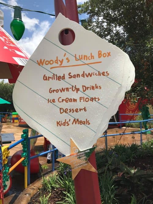 woodys lunchbox sign in Toy Story Land