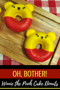 Winnie the Pooh cake donuts are perfect for a Winnie the Pooh birthday party! #recipe #winniethepooh #christopherrobin #movie #donut #donuts #partyideas #partyfood