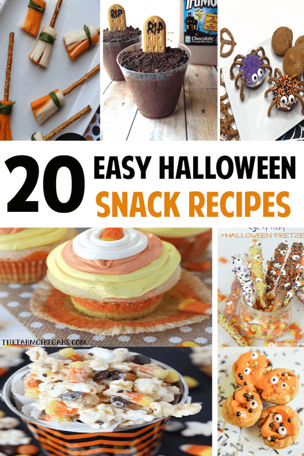 20 Easy Halloween Snack Recipes for your next Halloween party ideas! #Halloween #halloweensnacks #halloweenrecipes #recipes #snacks #kidssnacks #halloweenparty #halloweenideas #halloweenpartyideas