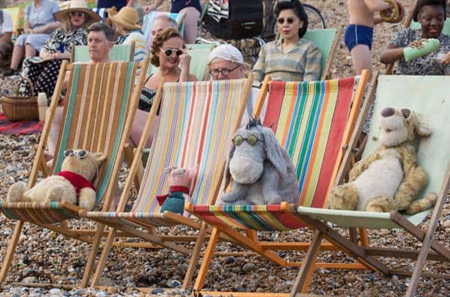 christopher robin movie characters on beach