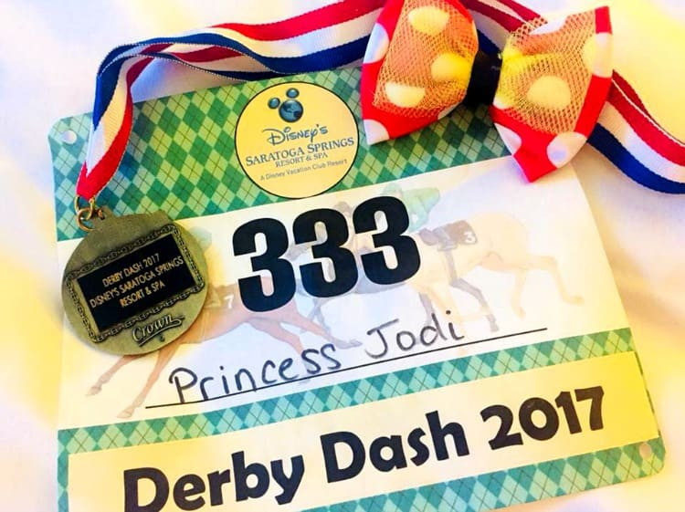 The Derby Dash fun run swag earned at a Disney world resort fun run