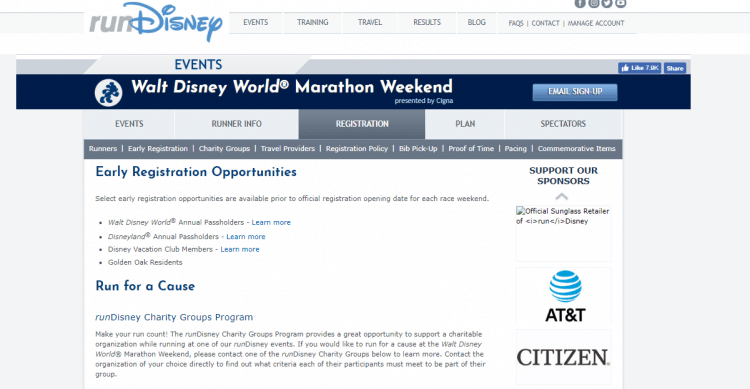 early registration rundisney