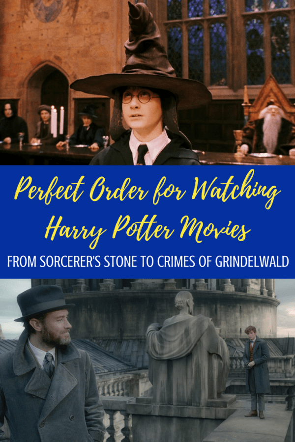 Use this Harry Potter movies in order list to pick the perfect way to watch your Harry Potter movie marathon! From Sorcerer's Stone to Crimes of Grindelwald, and everything Hogwarts in between. #harrypotter #harrypottermovies #movies #moviemarathon