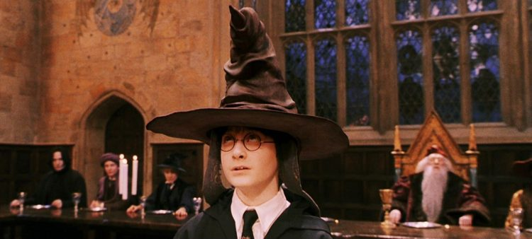 List of Harry Potter movies in order of release starts with Sorcerer's Stone And Harry in sorting hat