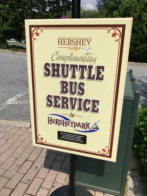 Free shuttle service to Hersheypark sign Hershey Lodge Hershey PA