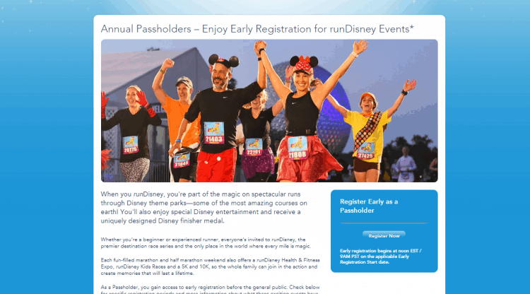 Disney World passholder benefit page runDisney