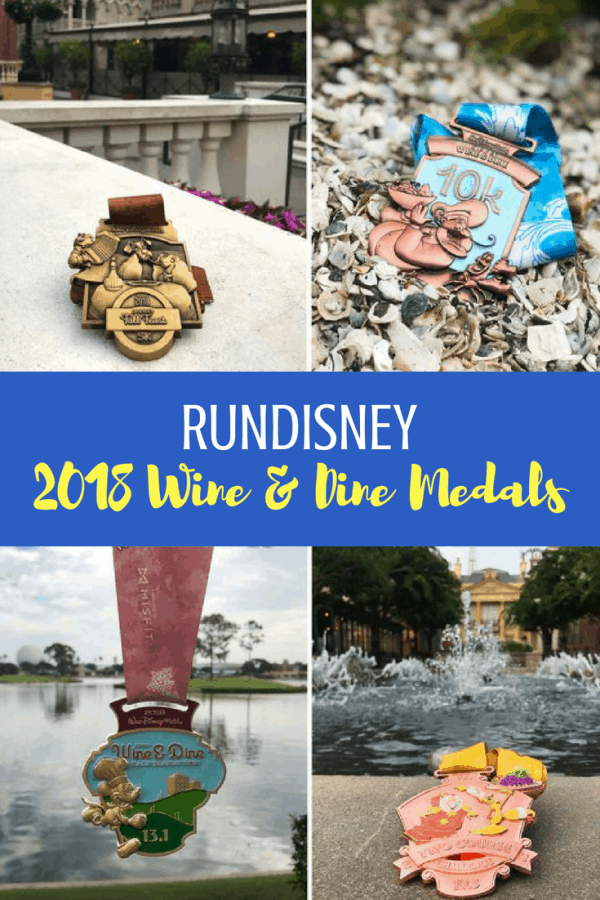 runDisney Disney Wine and Dine 2018 race medals are here! #runDisney #disneyworld #running #run #medals #halfmarathon #5k #10K