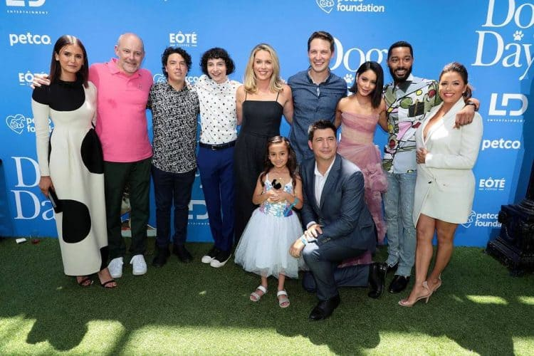 "Nina Dobrev, Rob Corddry, Jon Bass, Finn Wolfhard, Jessica St. Clair, Elizabeth Phoenix Caro, Michael Cassidy, Ken Marino, Director, Vanessa Hudgens, Tone Bell, Eva Longoria at the World Premiere of LD Entertainment?s, ""Dog Days"" Dog Days red carpet"