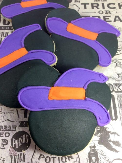 Witch Mickey Mouse Cookies purple hat and orange hat band