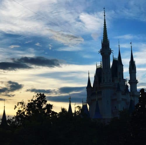 Cinderella castle at Disney World sunset