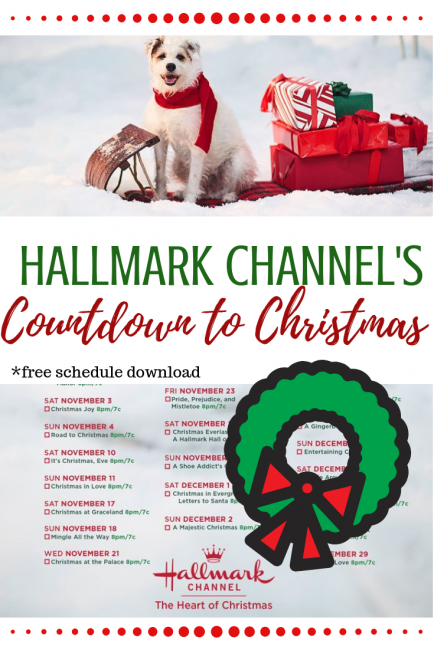 Hallmark Channel Christmas movies list Countdown to Christmas 2018