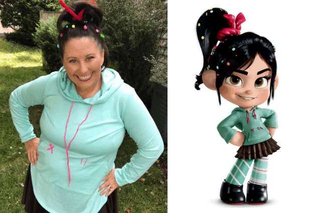 DIY Vanellope Von Schweetz costume for running Disney races or Halloween