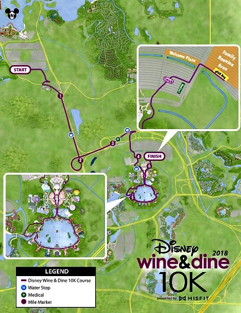 runDisney wine dine 10k course map 2018