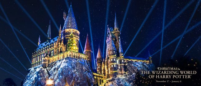 universal studios hollywood christmas hogwarts castle