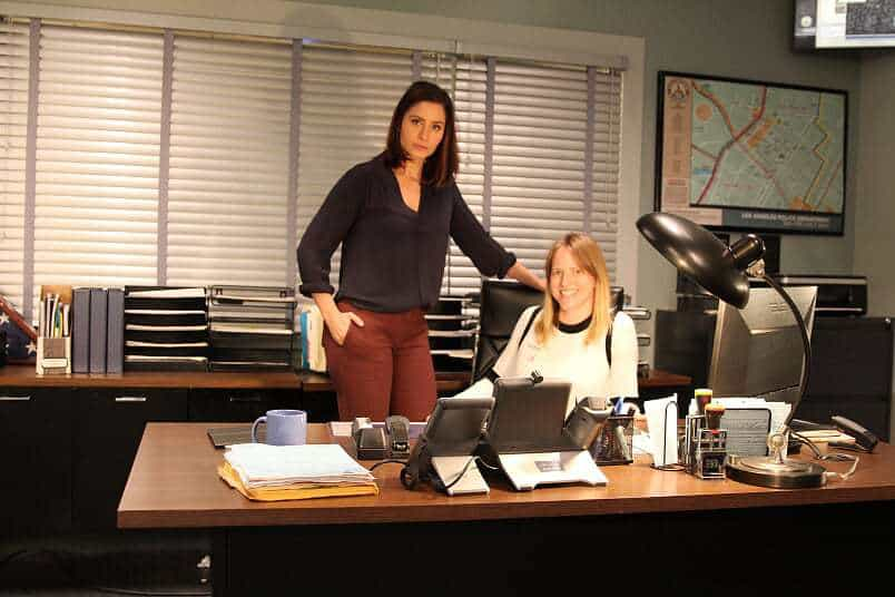 Louise Bishop and Mercedes Mason on set of ABCs The Rookie
