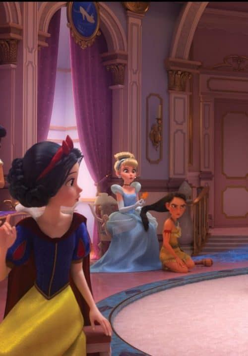 Ralph breaks the internet princess scene easter eggs pochahantas and cinderella and snow white