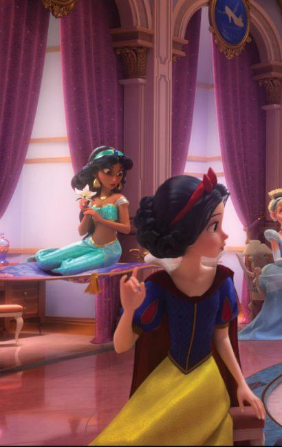 Jasmine on her carpet in the princess scene ralph breaks the internet easter egg