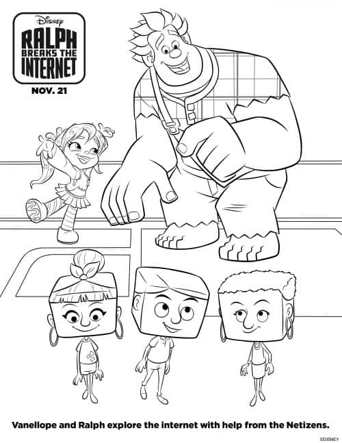 Ralph Breaks the Internet coloring sheets free printables