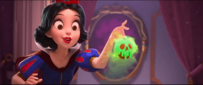 snow white mirror easter egg in Princess scene Ralph Breaks the Internet