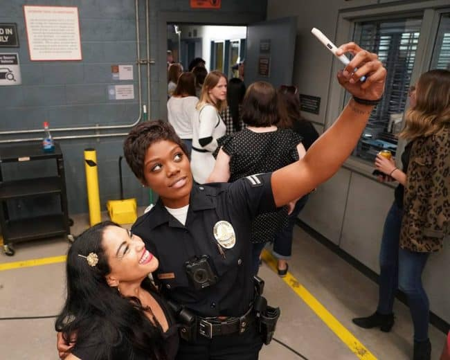 Abcs the rookie set visit afton williams selfie