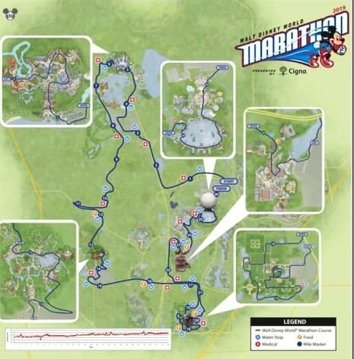 2019 Disney World Marathon course map