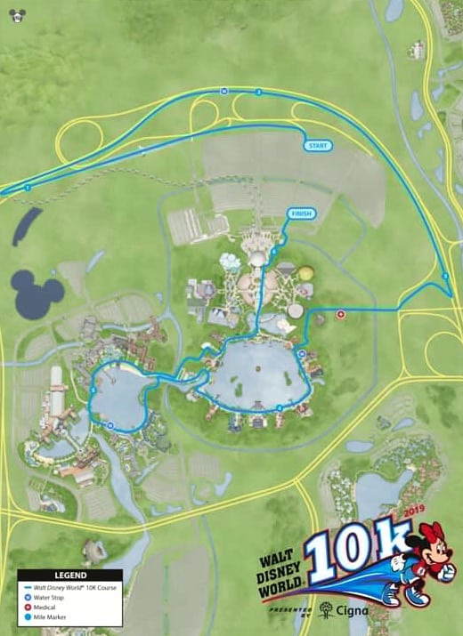 2019 Disney World Marathon weekend 10K course map