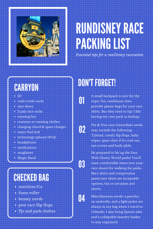 runDisney packing list