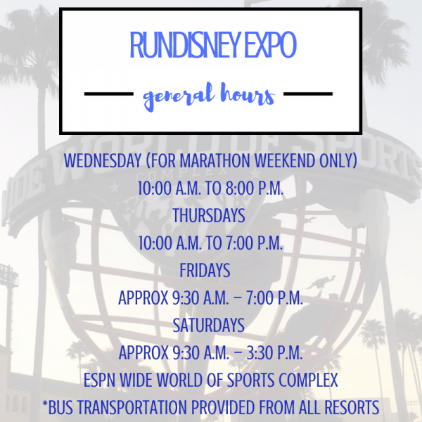 rundisney expo hours
