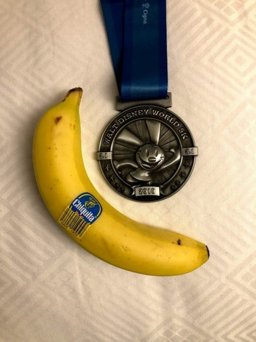 rundisney FAQ: at the finish line you'll find 5k medal and banana